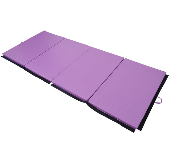 "Soozier 10' x 4' x 2"" PU Leather Folding Gymnastics Tumbling / Martial Arts Mat with Handles - Purple 1"