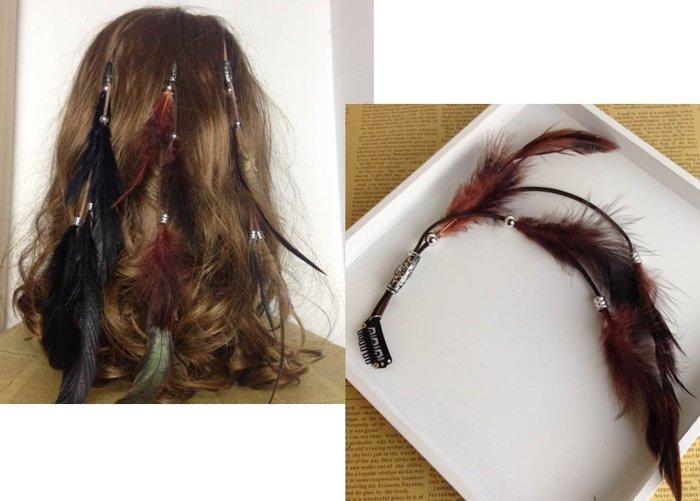 ~草魚妹~H340頭飾波西米亞印地安民族風 製作羽毛串珠 編織流蘇髮夾髮飾,售價120元