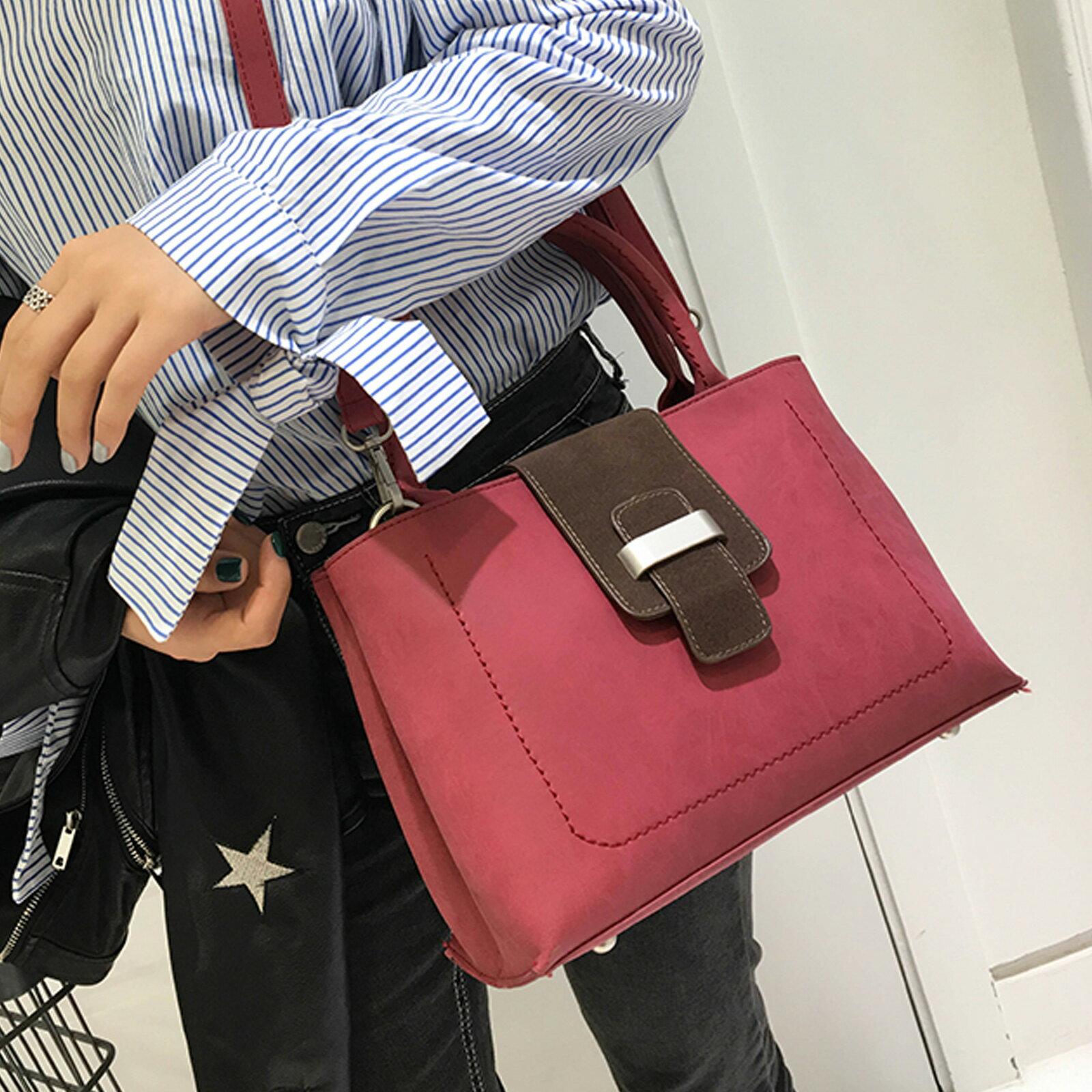 手提包 韓版大容量磨砂皮撞色手提側背包【O3208】☆雙兒網☆ 2