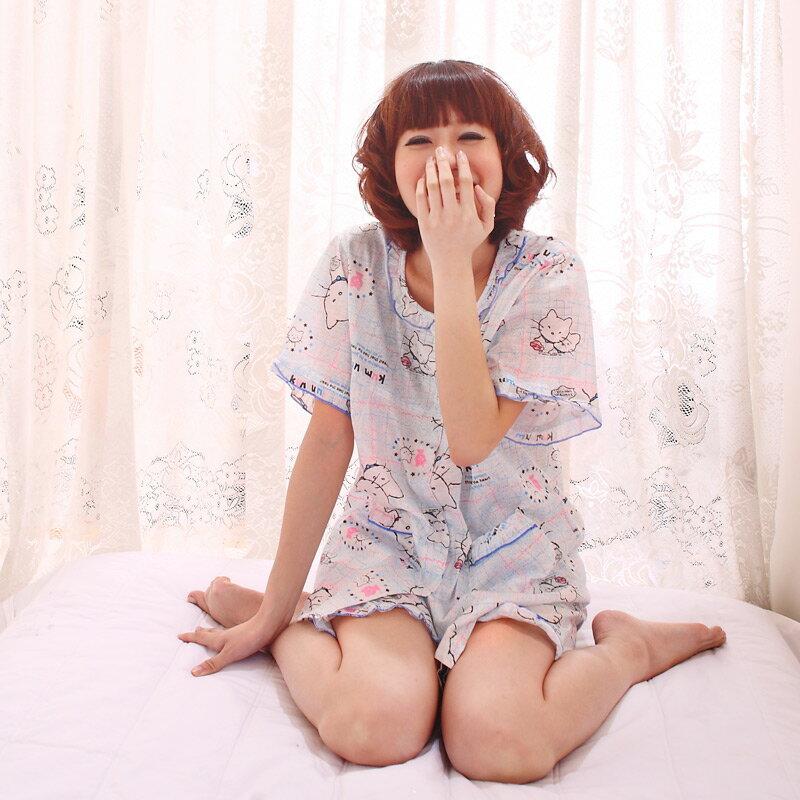 ~雙峰話題~~雲朵貓咪~棉質短袖裙裝睡衣 ~  好康折扣
