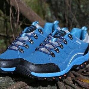 美麗大街【W3310E2】秋冬季戶外徒步鞋旅遊登山鞋休閒運動越野跑鞋男女(寶藍色)