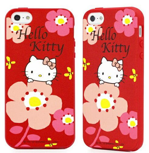 GOMO Hello Kitty iPhone SE / 5S TPU保護殼 凱蒂貓 手機殼 保護套-大花款紅色