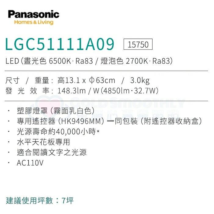 ☼金順心☼專業照明~原廠保固 Panasonic 國際牌 LED LGC51111A09 銀河 32.7W 遙控吸頂燈
