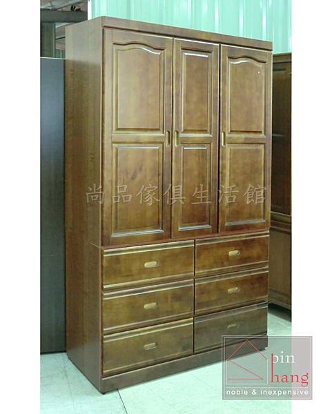 ~尚品傢俱~659~05 格斯 樟木  柚木色 4x7半實木開門衣櫃~ 尺寸