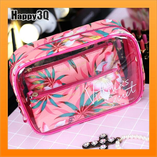化妝品包旅行包三件套PVC透明包花紋粉色少女心桃色洗漱包外出-多款【AAA4560】