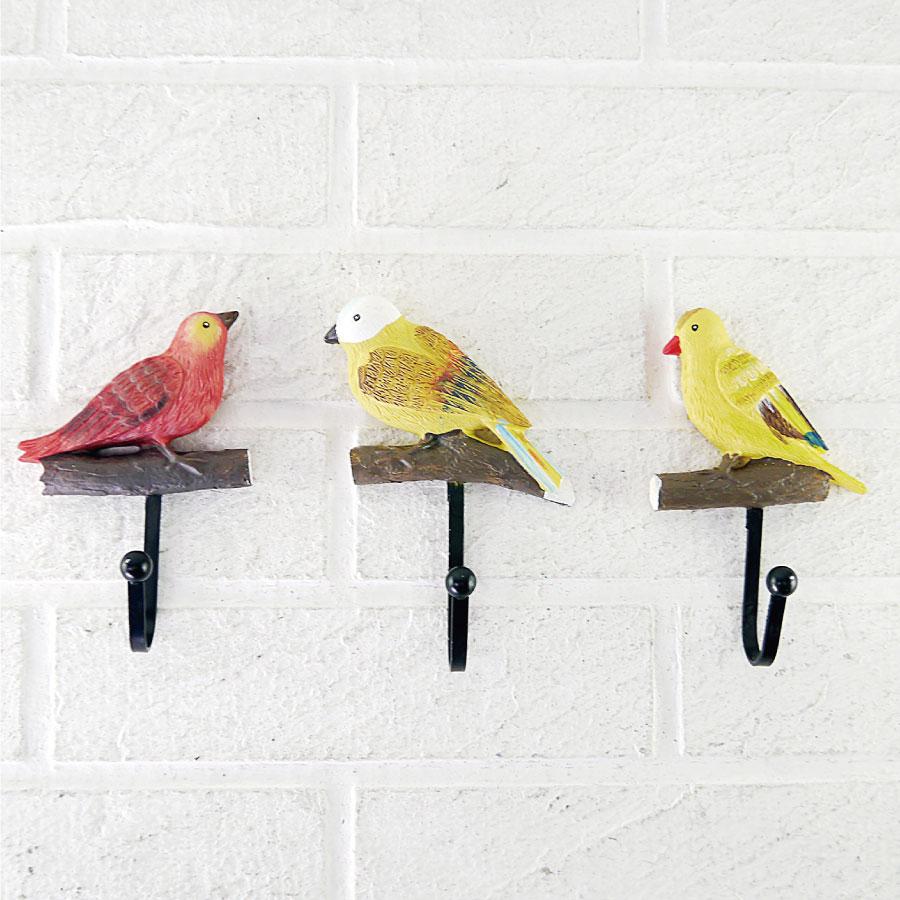 小鳥 造型 3入 掛勾 衣帽鈎 衣架 鄉村風 壁掛鈎 衣帽架 鄉村風 可愛 動物 卡通 掛鉤 牆面 收納 掛勾