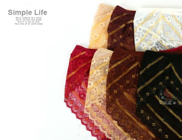 3件199免運【夢蒂兒】超透氣金線蕾絲三角褲 3件組 (隨機色出貨) 2
