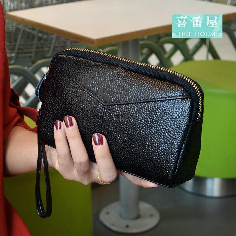 ~喜番屋~真皮頭層牛皮女士可裝6吋手機皮夾皮包錢夾零錢包手拿包手機包手包女包女夾LH394