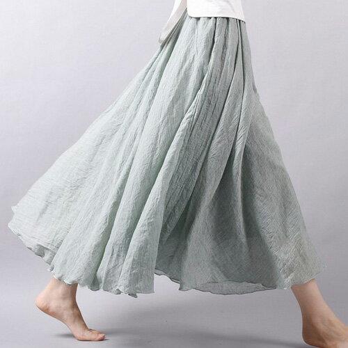 仙氣滿滿女舞者最愛多色韓文藝棉麻連身裙腰部鬆緊大裙擺波浪滾邊棉麻長裙艾爾莎【TAE6662】