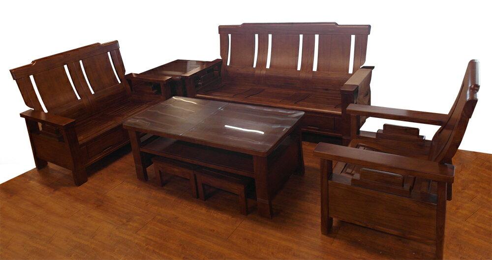 【尚品傢俱】822-09 魯邦 全實木1+2+3木組椅