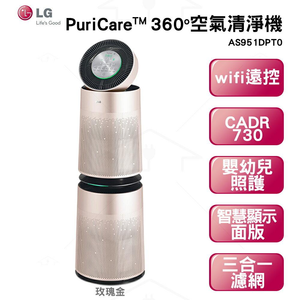 LG PuriCare™ 360°空氣清淨機-雙層 玫瑰金 AS951DPT0 CADR730/循環扇/奈米離子/空汙燈號