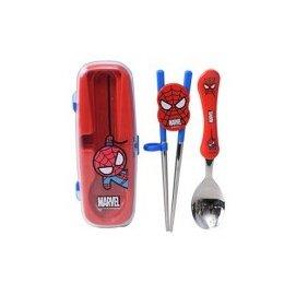 韓國進口304不鏽鋼兒童學習餐具組 Disney 蜘蛛人-【學習筷+湯匙 附餐具收納盒】
