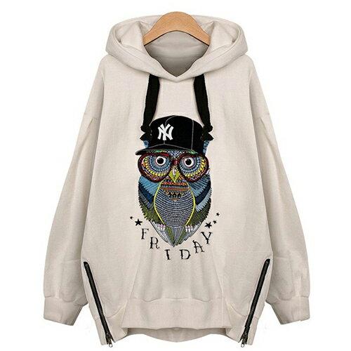 全店65折滿 599 套頭貓頭鷹加絨衛衣外套衫 ^(2色,XL^~5XL^) ~ ORea