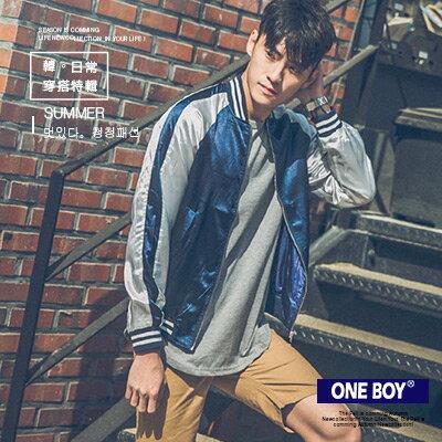 《全店399免運》『 One Boy 』【O160907】街頭風質量緞面羅紋素面棒球外套