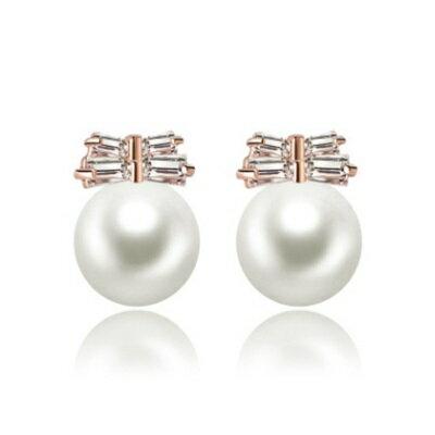 純銀耳環鍍18K金鑲鑽耳飾~ 亮眼 有型七夕情人節生日 女飾品2色73cr350~ ~~米