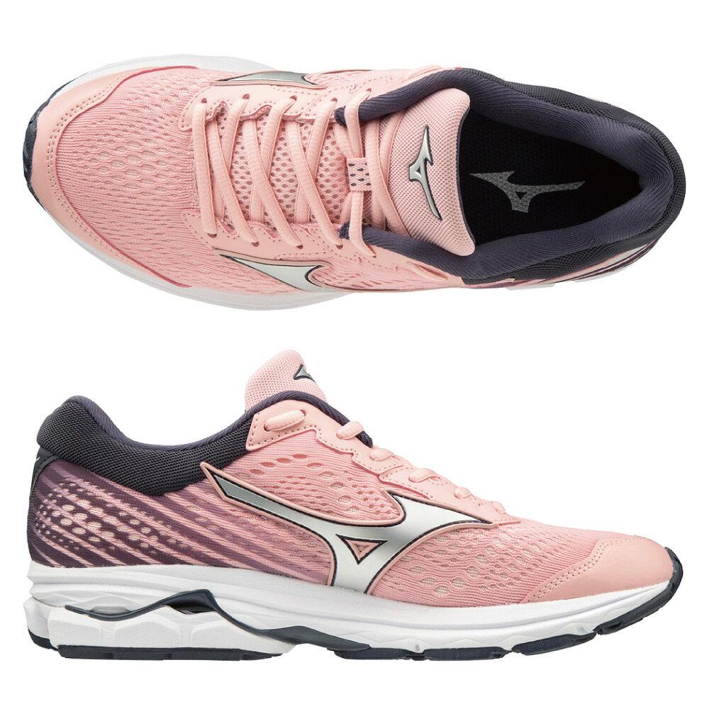 WAVE RIDER 22 一般型 女款慢跑鞋 J1GD183174(粉紅X銀白)【美津濃MIZUNO】 1