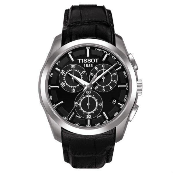 TISSOT天梭T0356171605100COUTURIER系列時尚簡約GMT計時石英腕錶41mm