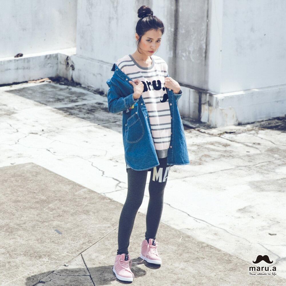 【mini maru.a】童裝親子裝彩色方塊印花長版牛仔襯衫(2色)7953211 1