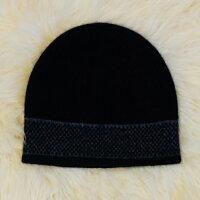 保暖配件推薦紐西蘭貂毛羊毛帽*摩斯配色_炭灰色X黑色(單層)