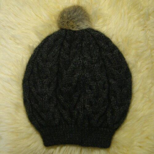 紐西蘭貂毛羊毛貝蕾帽*兔毛球麻花粗針織毛線帽 炭灰色