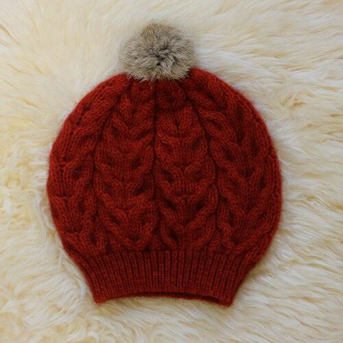 紐西蘭貂毛羊毛貝蕾帽*兔毛球麻花粗針織毛線帽 南瓜紅