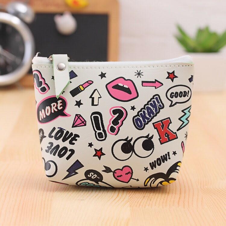 <br/><br/>  新款防水摩登女孩創意零錢包-白色繽紛<br/><br/>
