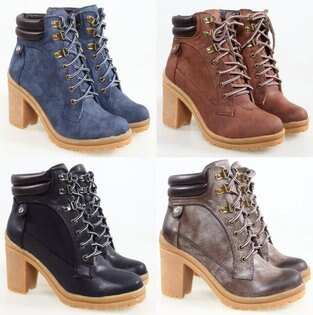 Pyf♥歐美厚底粗跟綁帶高跟靴4142中大尺碼女鞋