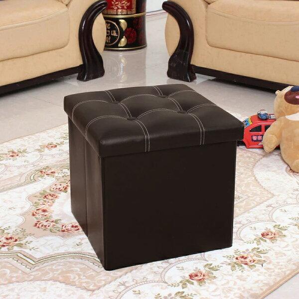 !新生活家具!《安娜》咖啡色皮革正方形帶蓋皮革收納凳收納箱儲物箱椅子凳子