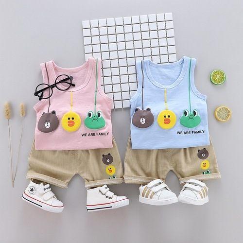 嬰兒短袖套裝卡通背心+短褲寶寶童裝YN4646好娃娃