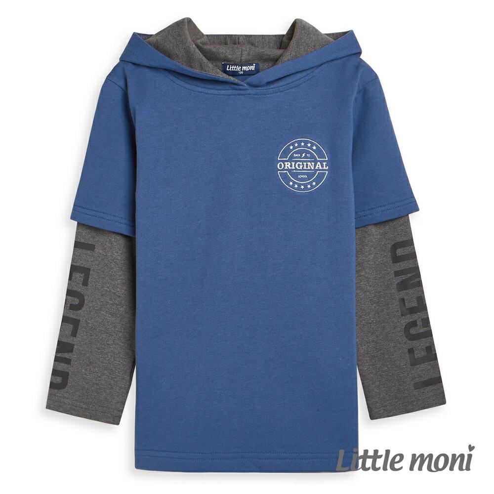 Little moni連帽假兩件印圖上衣-深藍 0