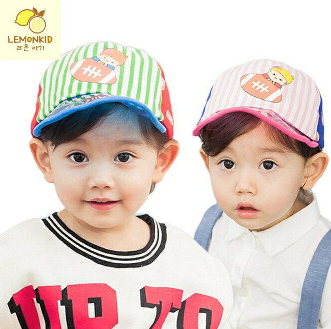 WallFree窩自在★時尚運動風條紋印花防曬遮陽好視線透明帽檐兒童休閒棒球帽