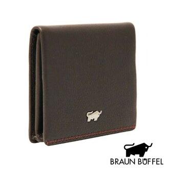 《BRAUN BUFFEL》 EDEL 羊皮系列扣式零錢包(咖啡色)(BF125-311W-BR)