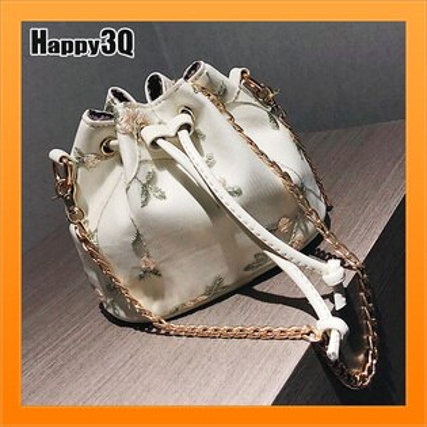束口包水桶包女生包通勤包鎖鏈包刺繡鍊條包大容量約會-黑白粉【AAA4673】