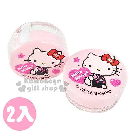 〔小禮堂〕Hello Kitty 乳液盒《2入組.10g.透明.粉.坐姿.拿愛心.吊帶褲》平日旅行皆適用