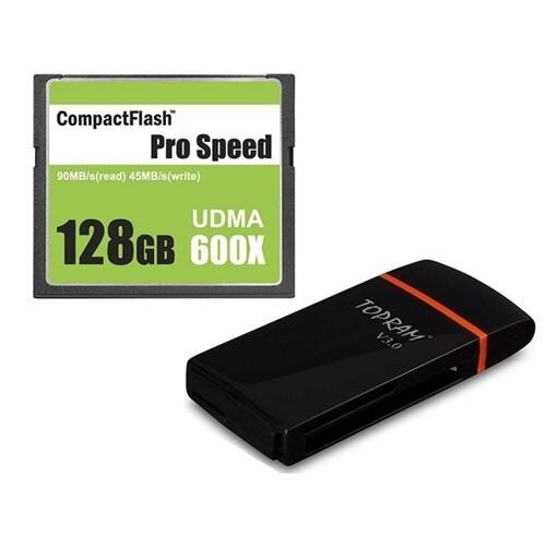3C Pro 128GB CF 128G CompactFlash Card 600X Extreme Speed UDMA 6 RAW with USB 3.0 Multifunction Card Reader 0