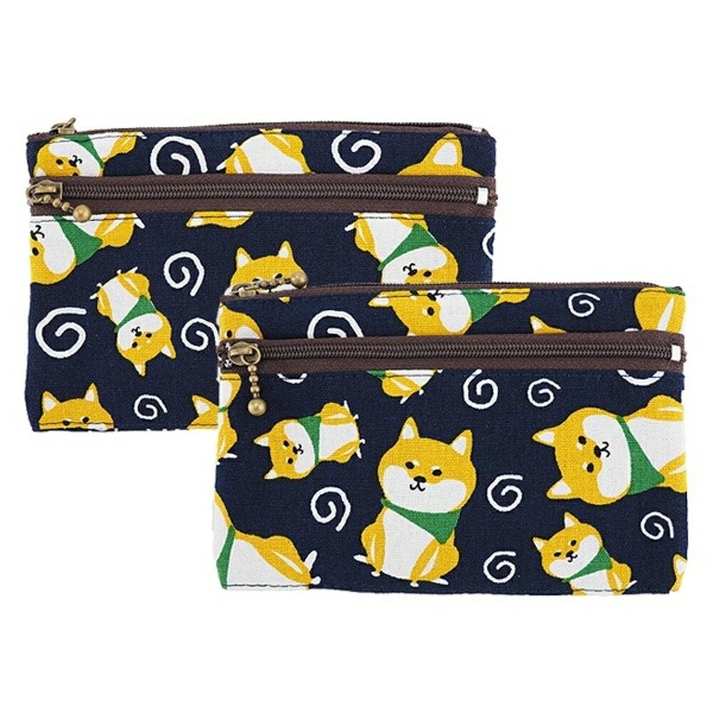 柴犬雙拉鍊中夾零錢包(1入)【小三美日】款式隨機出貨◢D409062