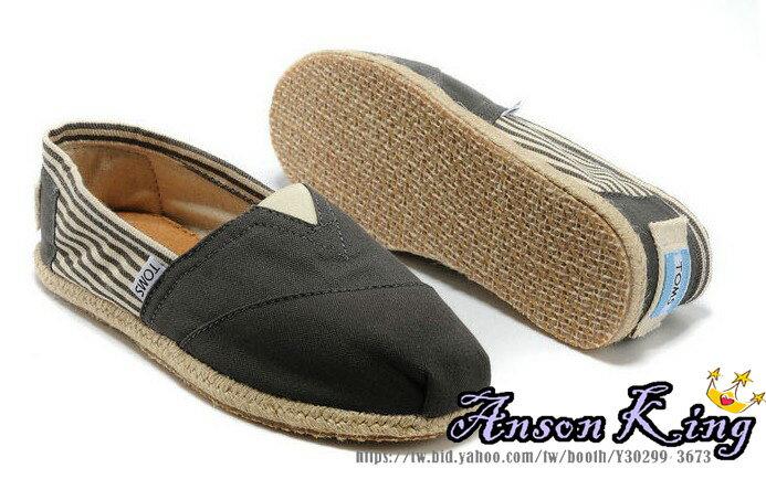 ^~女款^~ 國外 TOMS 帆布鞋 懶人鞋 休閒鞋 至尊鞋 亞麻系列 條紋灰色