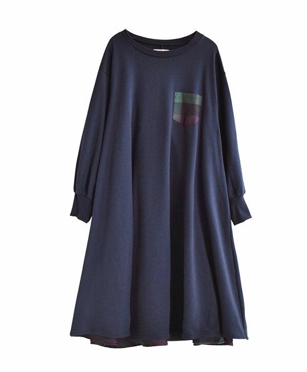 日本 e-zakkamania  /  秋冬異材拼接格紋連身裙  /  32603-2000289  /  日本必買 日本樂天直送  /  件件含運 1
