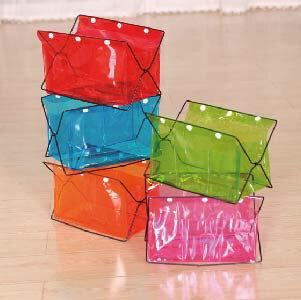 美麗大街【BF203E1E829】彩色透明PVC桌面雜物收納架