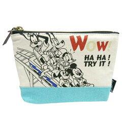 綠色款【日本進口正版】米奇 米妮 唐老鴨 迪士尼系列 船型 化妝包 收納包 筆袋 Disney - 042566
