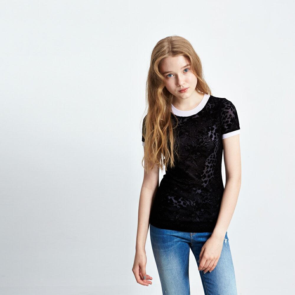 ICHE 衣哲 蕾絲豹紋透視印花設計上衣