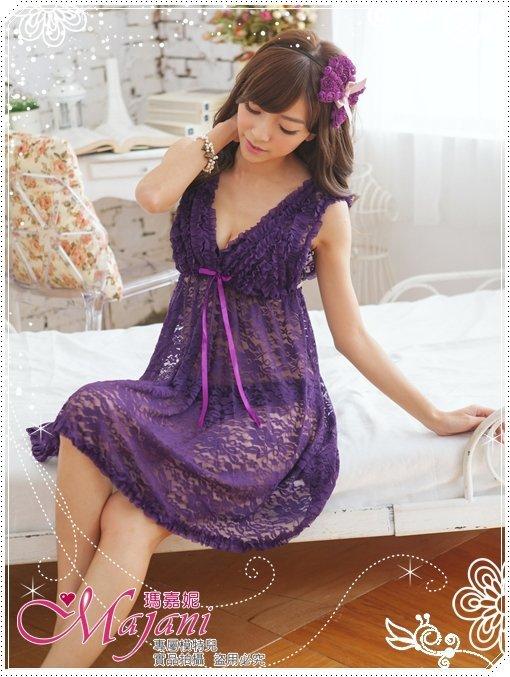 [瑪嘉妮Majani]日系中大尺碼睡衣-夢幻蕾絲 甜美 性感 現貨 359元 附同款丁字褲可超取 js-206