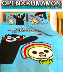 【名流寢飾家居館】OPEN x KUMAMON.雙人兩用舖棉被套.全程臺灣製造