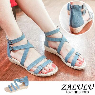 zalulu愛鞋館 928-MIT 清新牛仔布羅馬低跟涼鞋-淺藍/深藍-36-40