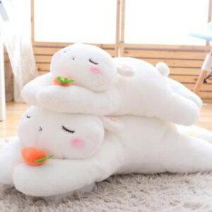 美麗大街~HB106110112~可愛趴趴小兔子毛絨玩具抱枕長條枕小白兔公仔抱著睡覺的娃娃