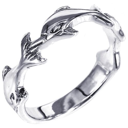 Triple Dolphin-Whale Sterling Silver Ring 0