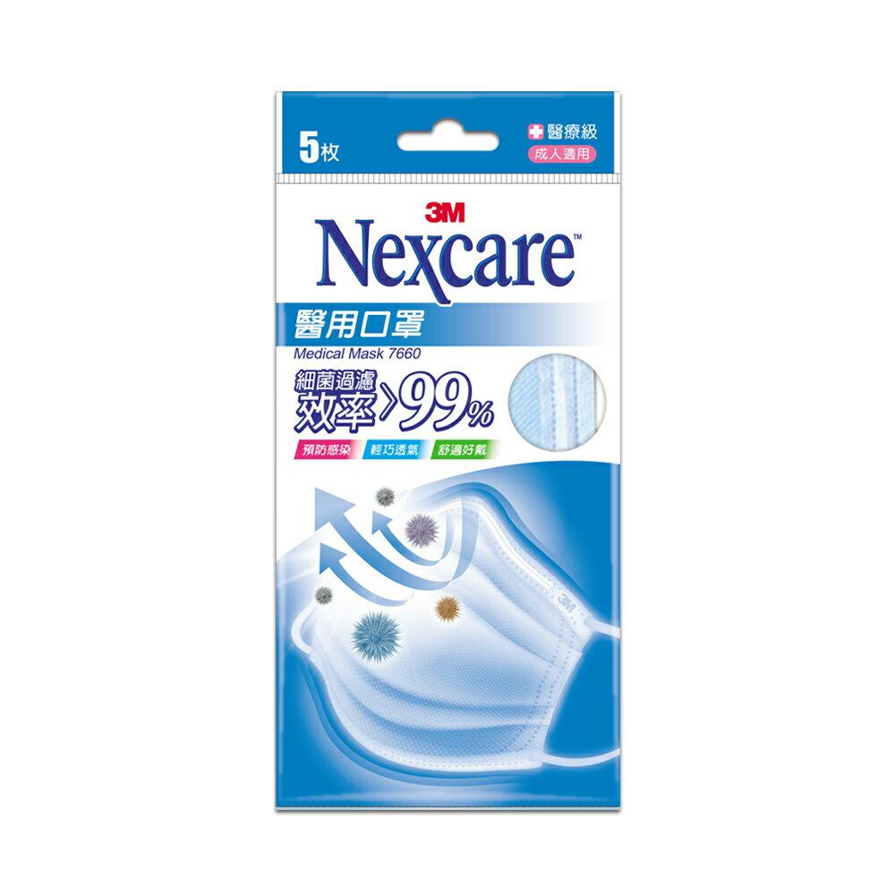 【滿299超取免運】3M Nexcare成人醫用口罩-粉藍(5片包)雙鋼印醫療口罩★每筆限購10包/盒★33 3M品牌慶 ★299起免運