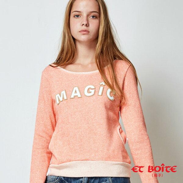 【秋冬精選】MAGIC花紗剪接長TEE(淺橘)-BLUEWAYETBOiTE箱子
