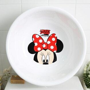 【真愛日本】18042800004大臉盆15吋-MM白大紅結迪士尼米妮米老鼠臉盆洗手盆塑膠臉盆