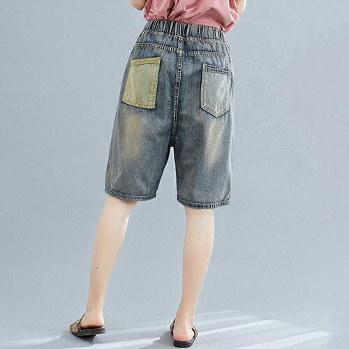 磨破文藝貼布寬鬆鬆緊腰五分牛仔短褲(藍色M~XL)【OREAD】 1